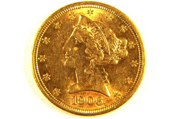 1906 5 00 Liberty Head Half Eagle Gold Coin Bu 449