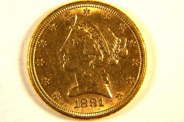 Uncirculated 1881 5 00 Liberty Head Half Eagle Gold Coin