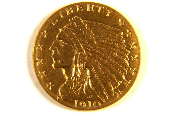 1910 2 50 Indian Head Quarter Eagle Gold Coin