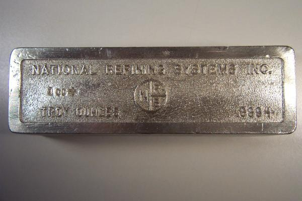 Rare 100 Oz Silver Bullion Bar National Refining Systems