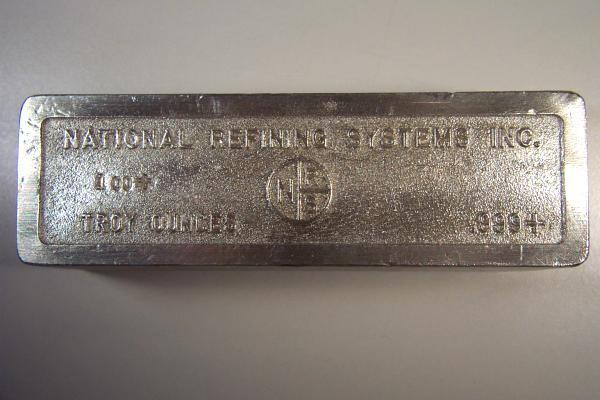Rare 100 Oz Silver Bullion Bar National Refining Systems