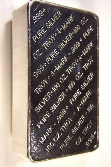 100 Oz Silver Bullion Bar A Mark Mint 1 39 Over Spot